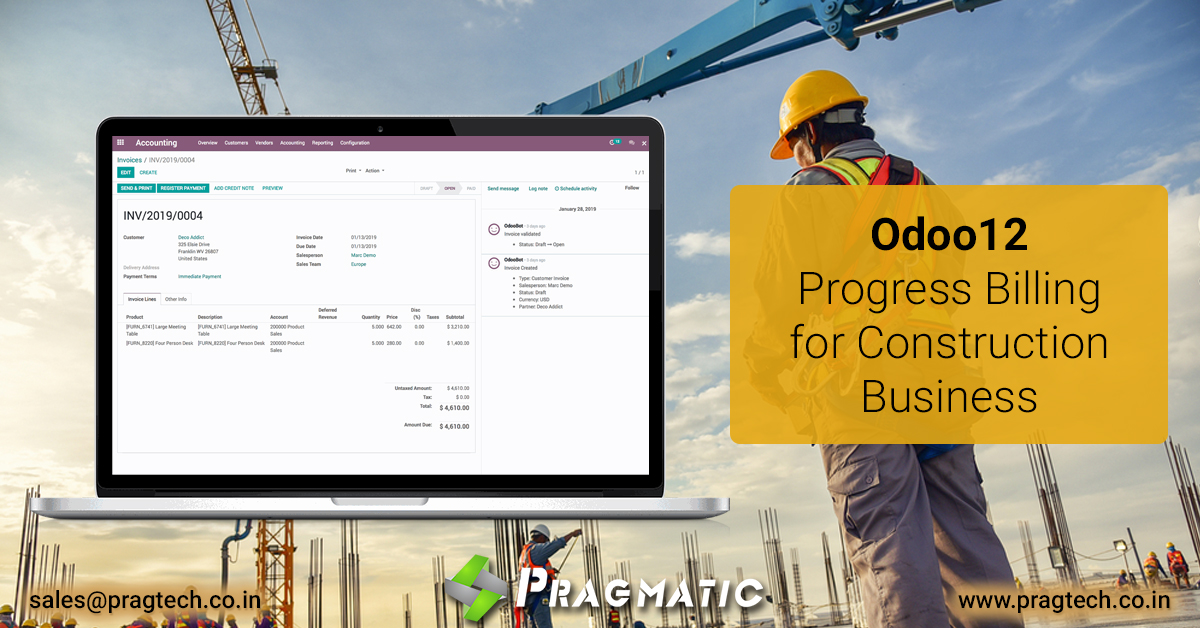 Odoo12 – Progress Billing for Construction Business
